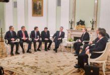 Im Mittelpunkt eines Gesprächs mit Russlands Präsident Wladimir Putin standen die österreichisch-russischen Beziehungen. Im Bild von links: Wirtschaftskammer-Präsident Christoph Leitl